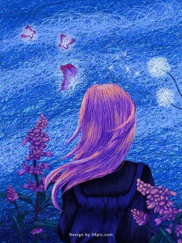 dreamy girl coils poster ilustrasi asal imej keterlaluan