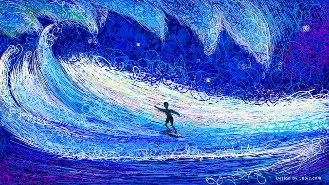 여름 코일 그림 서핑 삽화 소재 삽화 이미지