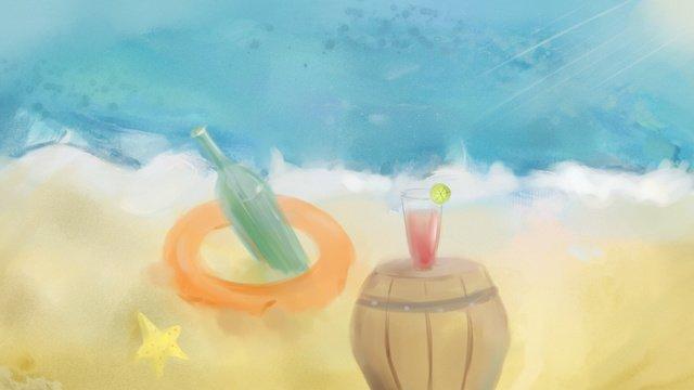 清涼夏日陽光海浪沙灘歡度夏日 插畫素材 插畫圖片