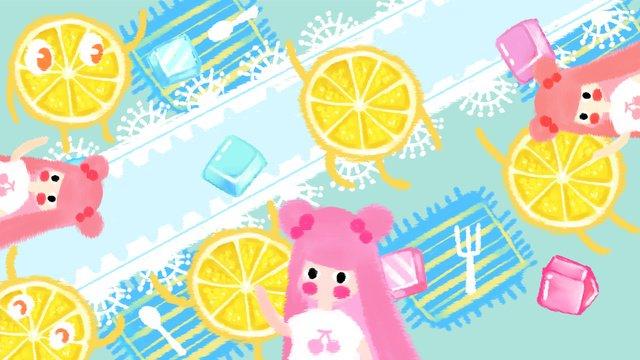 Cool summer little fresh lemon girl llustration image illustration image
