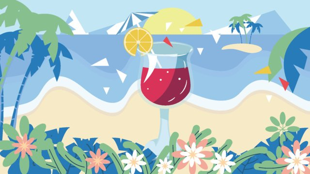Icy summer beach sand ice drink vector illustration llustration image