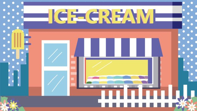 Icy summer drink ice cream fresh vector small shop, Cool Summer, Summer Is Cool, Icy Summer illustration image