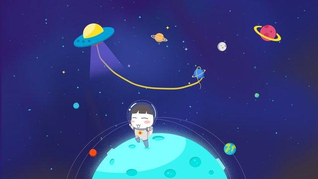 cosmic space ship starry sky original hand drawn illustration llustration image illustration image