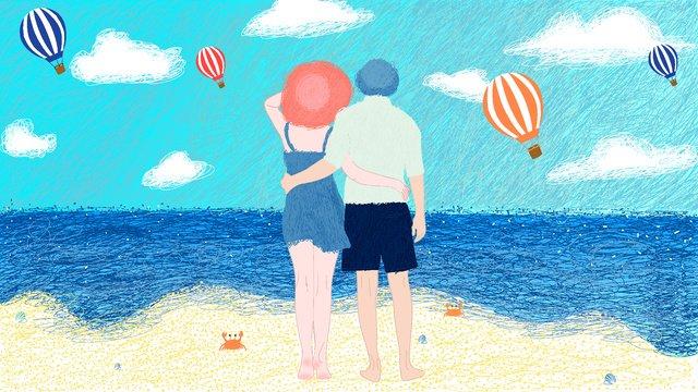 Cặp đôi bên bờ biển minh họaCặp  đôi  Bên PNG Và Vector illustration image