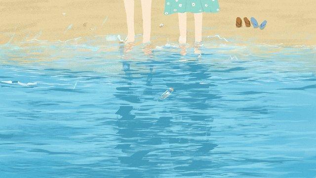 Couple Tanabata Lovers seaside, Reflection, Flip Flop, Beach illustration image