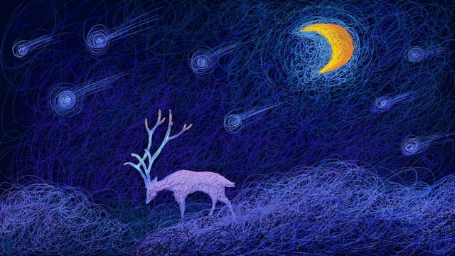Cure original coil illustration fantasy scene meteor shower deer under the moon, Cure, Deer, Night illustration image