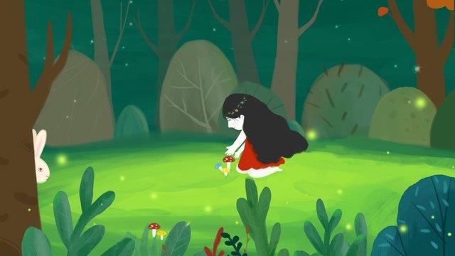 cure green forest girl, Animal, Original, Illustration illustration image