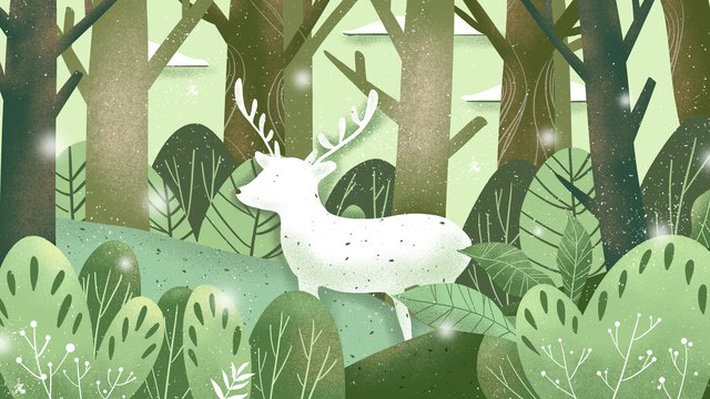 Healing forest and deer original illustration, Cure, Plant, Green illustration image
