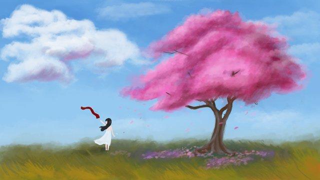 Спящая страна чудес цветущая вишня Ресурсы иллюстрации