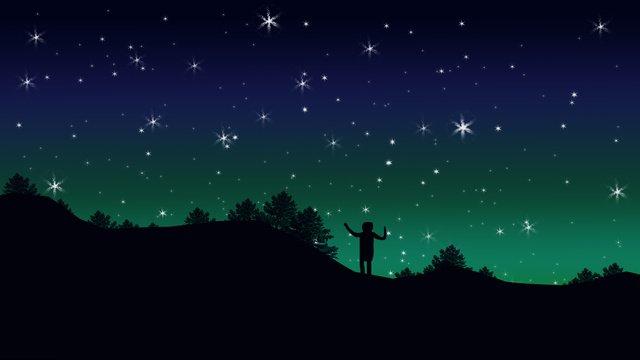 하오 싱 xinghai 밤 하늘 실루엣 일러스트 레이션 삽화 소재 삽화 이미지