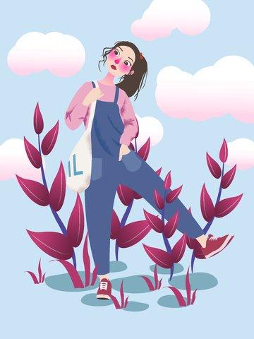デニムを着てかわいい女の子のかわいい手描き漫画イラスト イラスト画像