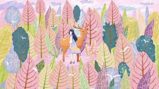 दीप वन और हिरण सुंदर सपना कुंडल इलाज छाप चित्रण चित्रण छवि