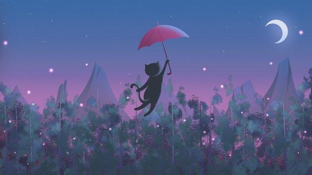 इलाज चित्रण गहरी जंगल की रात चांदनी में बिल्ली चित्रण छवि चित्रण छवि