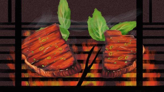 vẽ tay thực phẩm mùa đông nướng bít tết ngon xin chào Hình minh họa