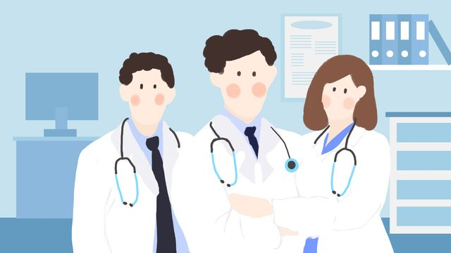 Chinese physicians day office hand-painted flat style original, Doctors, Hospital, Medical Element illustration image