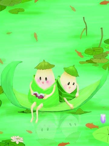 ilustrasi asal dragon boat festival dice dan lotus pond imej ilustrasi