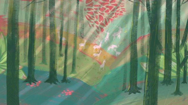 Original deep forest see deer, Dream, Deer, Forest illustration image