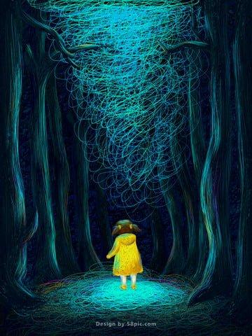 夢のような孤独な森ガールコイルオリジナルイラストポスター イラスト素材 イラスト画像