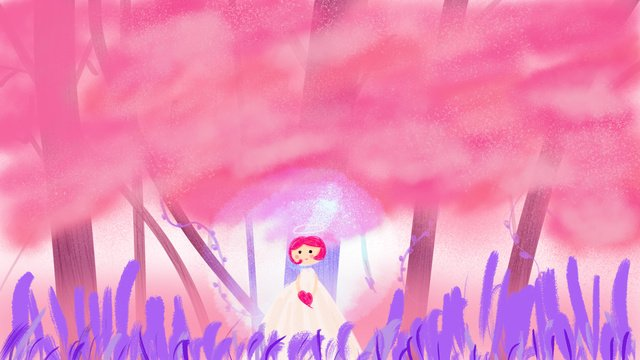 dreamy girl spring blossoms travel illustration llustration image