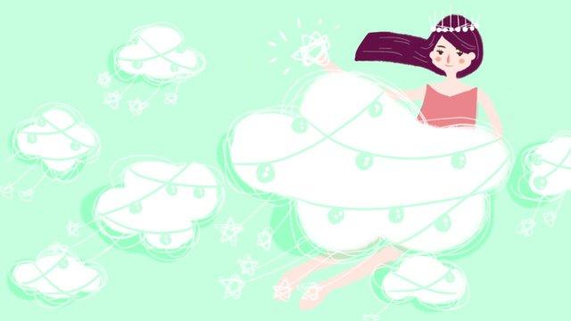 Fantasy cute little fresh cloud girl cure original hand-painted illustration, Dream, Lovely, Small Fresh illustration image