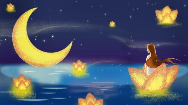 꿈 소녀 밤하늘 연꽃 빛 그림 이미지 일러스트레이션 이미지