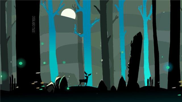 夜的夢境之森林與鹿插畫 插畫素材 插畫圖片