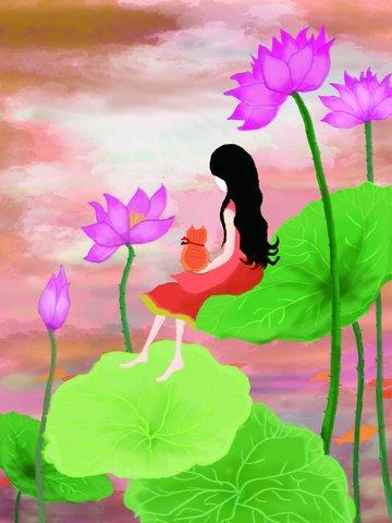 original summer dusk girl with lotus llustration image