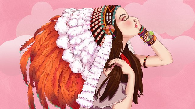 羽の帽子を持つ少女の美しくて美しいイラスト イラスト素材 イラスト画像