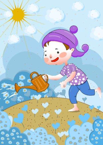 februari hello little girl kind heart flat illustration wind imej keterlaluan