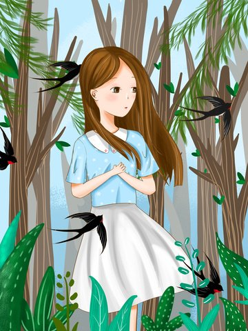 hello february little girl and swallow llustration image