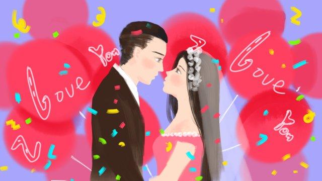 七夕恋愛結婚式、結婚して、オリジナルの手描きイラスト イラスト素材