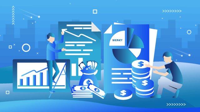 Financial character colleague vector flat wind illustration, Financial Management, Cartoon, Vector illustration image