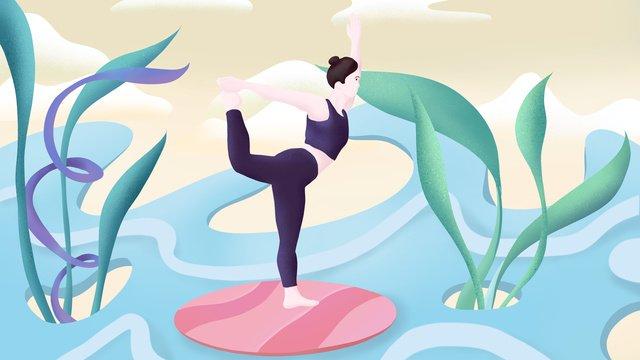 ngày tập thể dục quốc gia yoga girl vẽ tay hình nền poster Hình minh họa