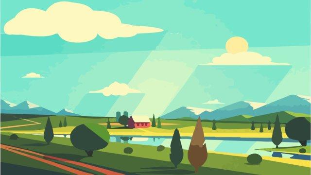 scene gradient vintage tone flat wind beautiful landscape illustration llustration image illustration image