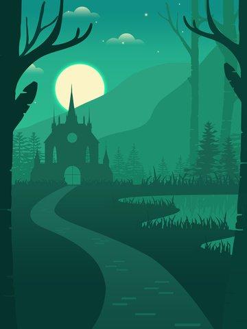 오래 된 성 평평한 숲에서 프리 그림 그림 이미지 일러스트레이션 이미지