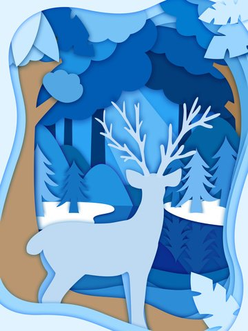 森と鹿の紙が風イラストをカット イラスト素材 イラスト画像