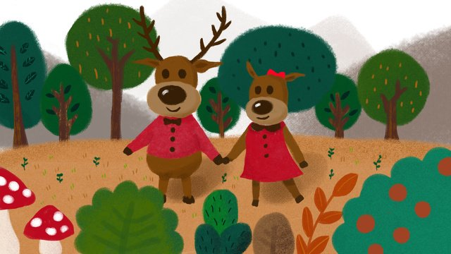 독창적 인 치유의 일러스트 레이터 forest and lulin deep deer 삽화 소재 삽화 이미지