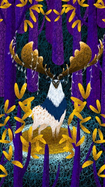 Forest and deer healing system illustration, Forest, Deer, Coil illustration image