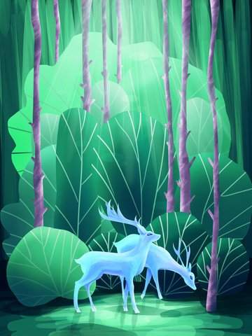Original illustration forest with deer, Forest, Deer, Healing illustration image