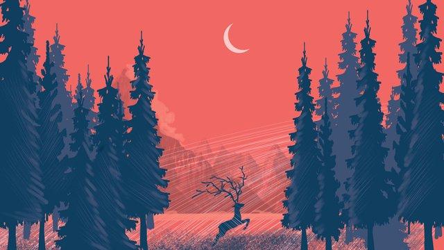 Rừng thấy hươu minh họaRừng  Hươu  Hoa PNG Và PSD illustration image