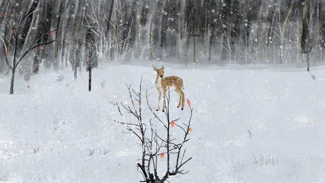lin shenjian deer   winter original illustration Material de ilustração Imagens de ilustração