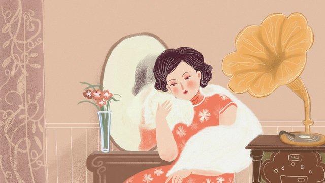 vẽ tay kiểu trung quốc sườn xám của phụ nữ Hình minh họa Hình minh họa
