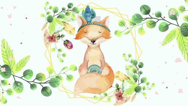 もともと描かれたキツネの花小動物 イラスト素材 イラスト画像
