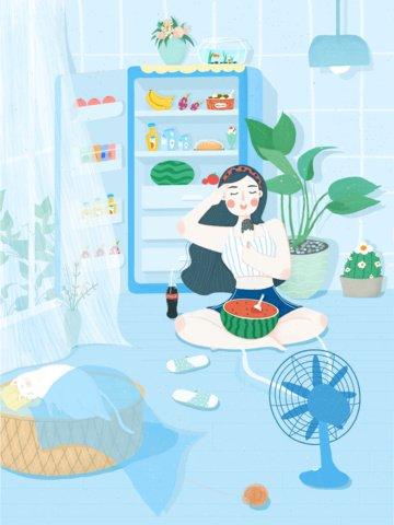 ताजा और सुंदर गर्मियों के तरबूज दृश्य मूल चित्रण कार्टून पोस्टर चित्रण छवि