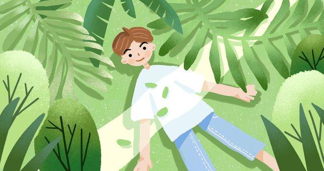 清新綠色夏季原創插畫 插畫素材 插畫圖片