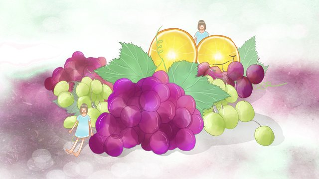 Hand drawn fresh summer fruit grapes oranges and little girl, Fresh, Summer, Fruit illustration image