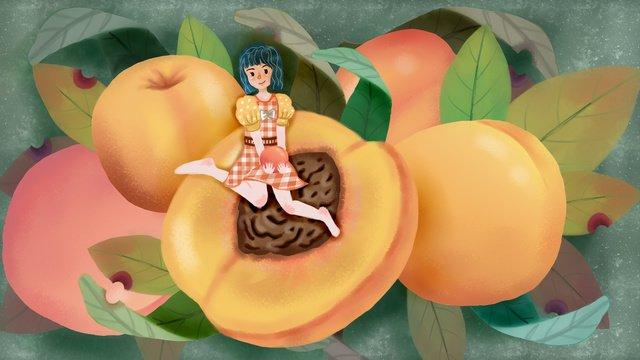 Summer fruit girl series of sweet peach llustration image illustration image