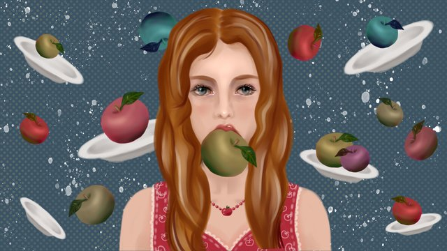 Unhappy sexy apple girl in summer fruit series llustration image