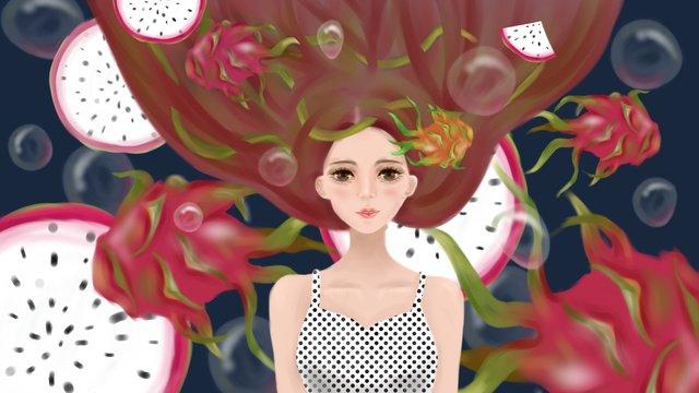 summer fruit dream bubble dragon girl imej keterlaluan imej ilustrasi
