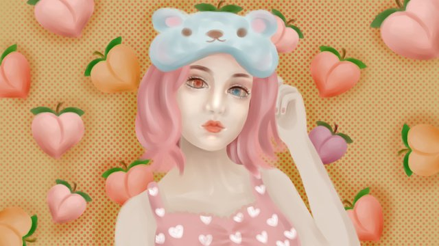 Fat juicy peach girl in summer fruit series llustration image illustration image